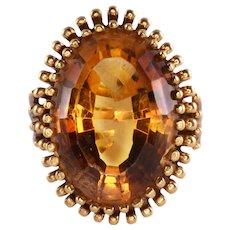 15.98 Carat Oval Citrine Ring