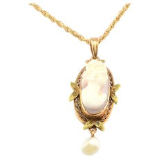 Shell Cameo Pendant and Chain
