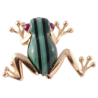 Malachite Frog Pin with Onyx Stripes and Ruby Eyes