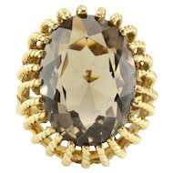 13.75 Carat Oval Smoky Quartz Ring