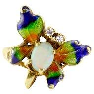 Opal Diamond Enameled Butterfly Ring