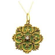 Diamond Green Enamel Pendant