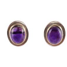14.5 CTW Cabochon Amethyst Earrings