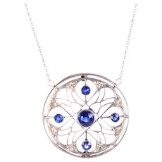 Edwardian Round Sapphire Pendant and Chain