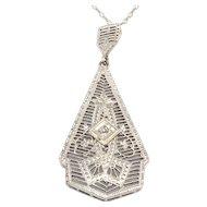 Filigree Diamond Pendant and Chain
