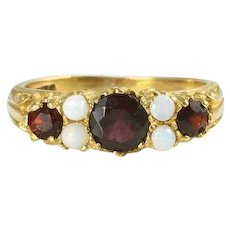 0.75 Carat Total Weight Garnet Ring with Opals