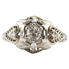 Center Diamond Filigree Ring
