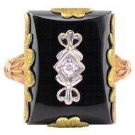 Rectangular Onyx and Diamond Ring