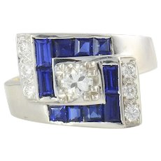 White Gold Center Diamond Ring With Lab Created Sapphires