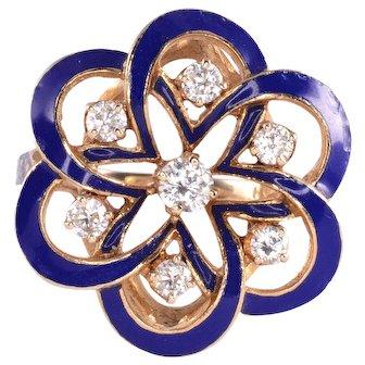 Blue Enamel and Diamond Ring