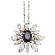 1.30 Carat Sapphire and Diamond Flower Pendant