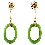 Jade Oval Hoop Earrings