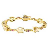 2.40 CTW Oval Opal and Ruby Bracelet