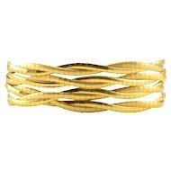 18K Gold Florentined Strand Bracelet
