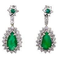 6.0 CTW Emerald and Diamond Earrings