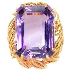 13.18 Carat Emerald Cut Amethyst Ring