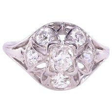 Open Work Old European Cut Diamond Ring