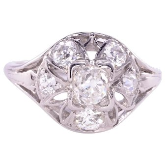 Open Work Old European Cut Diamond Ring