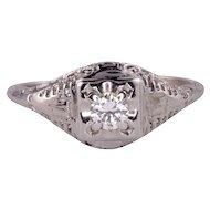 White Gold Filigree Diamond Ring