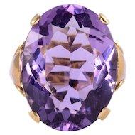14.71 Carat Amethyst 18 Karat Gold Ring
