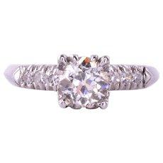 .95 Carat Center Diamond Platinum Engagement Ring