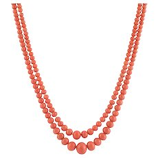 Double Strand Coral Bead Necklace