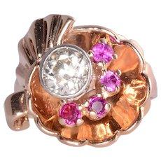 Retro .92 Carat Diamond & Ruby Rose Gold Ring