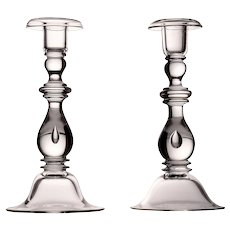 Steuben Teardrop Design Crystal Candlesticks