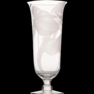 Anthurium Floral Frosted Etched Glass Vase