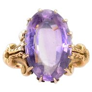 Oval Amethyst Yellow Gold Ring