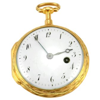 French Jacques Gudin Four Color 18K Gold Pocket Watch