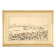 Pen and Ink Sketch of Civil War Scene by William Aiken Walker
