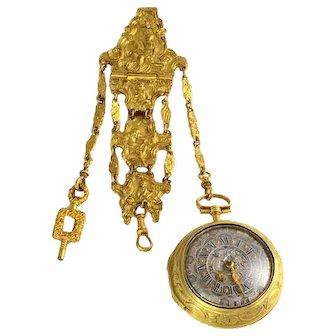 English Gilt Chatelaine Pocket Watch by Jonathan White