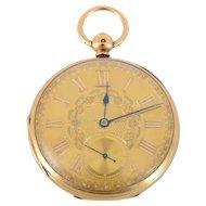 English 18K Yellow Gold Pocket Watch by JF Sedman