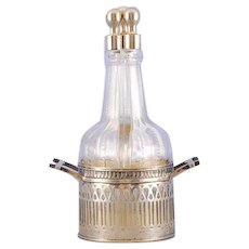 Three Bottle Silver and Crystal Cruet Set