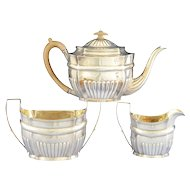 English Sterling Three Piece Tea Set by Hannah Northcote