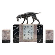 French Three Piece Marble Clock Set with Bronze Hunting Dog