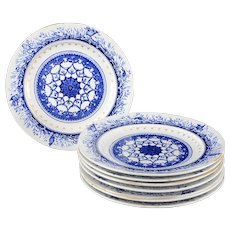 English Set of Eight Leopold Dinner Plates by Royal Crown Derby