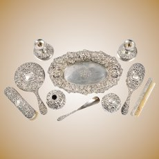 Stieff & Co Silver Ten Piece Vanity Set