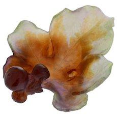 Art Nouveau Daum Pate De Verre Glass Fig Leaf Dish