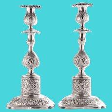 German Pair 800 Silver Candlesticks