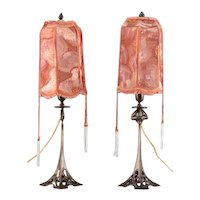 Pair of Table Lamps With Art Nouveau Candlestick Base