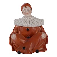 Porcelain Seated Pierrot Figural Box