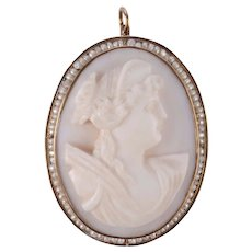 Seed Pearl and Shell Cameo Brooch or Pendant