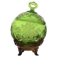 Cambridge Glass Rare Green Apple Blossom Puff Box
