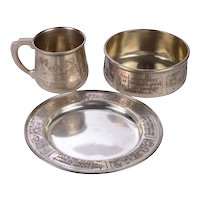 WM B Karr & Co  for J E Caldwell Sterling Silver Three Piece Child's Breakfast Set