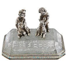 Figural Grouping in Silver and Crystal