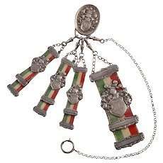 German Sterling Silver Watch Fob and Chain
