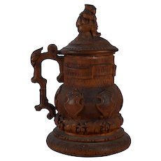 Hand Carved Fruitwood Stein
