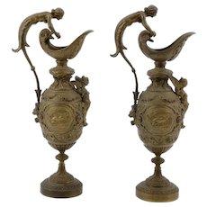 French Pair of Bronze Ewers